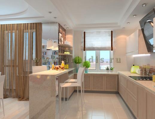 АрхиДис | дизайн кухни-гостиной в современном стиле