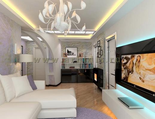 АрхиДис | дизайн гостиной в светлых тонах