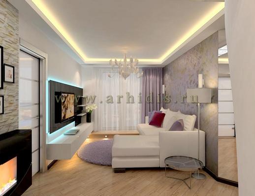 АрхиДис | дизайн гостиной в белых тонах