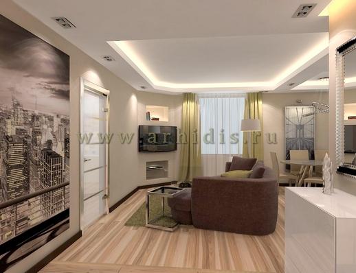 АрхиДис | дизайн гостиной в стиле хайтек