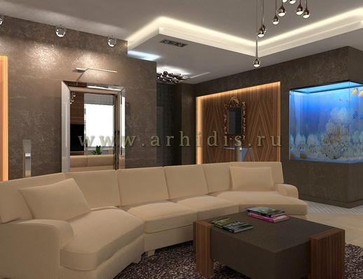 АрхиДис | дизайн гостиной с деревом в современном стиле