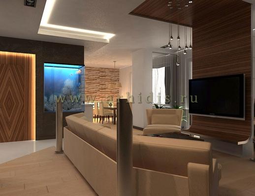 АрхиДис | дизайн гостиной с деревом