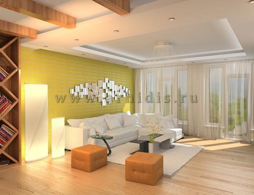 АрхиДис | дизайн гостиной с камином и балками