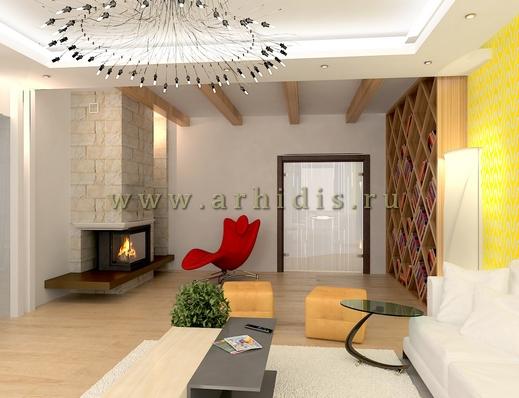 АрхиДис | дизайн гостиной с балками