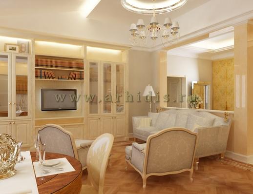 АрхиДис | дизайн гостиной в классическом стиле