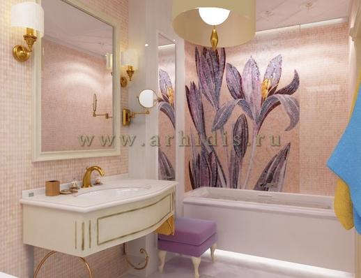 АрхиДис | дизайн ванной с цветами